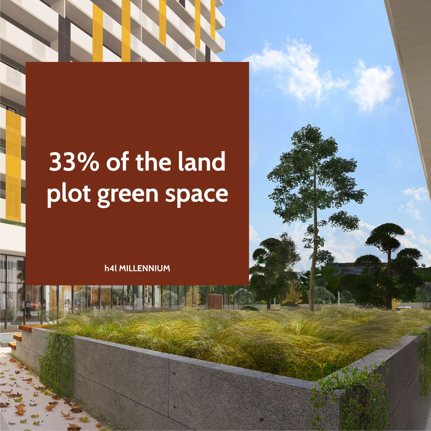 Green area on 33% of the land plot