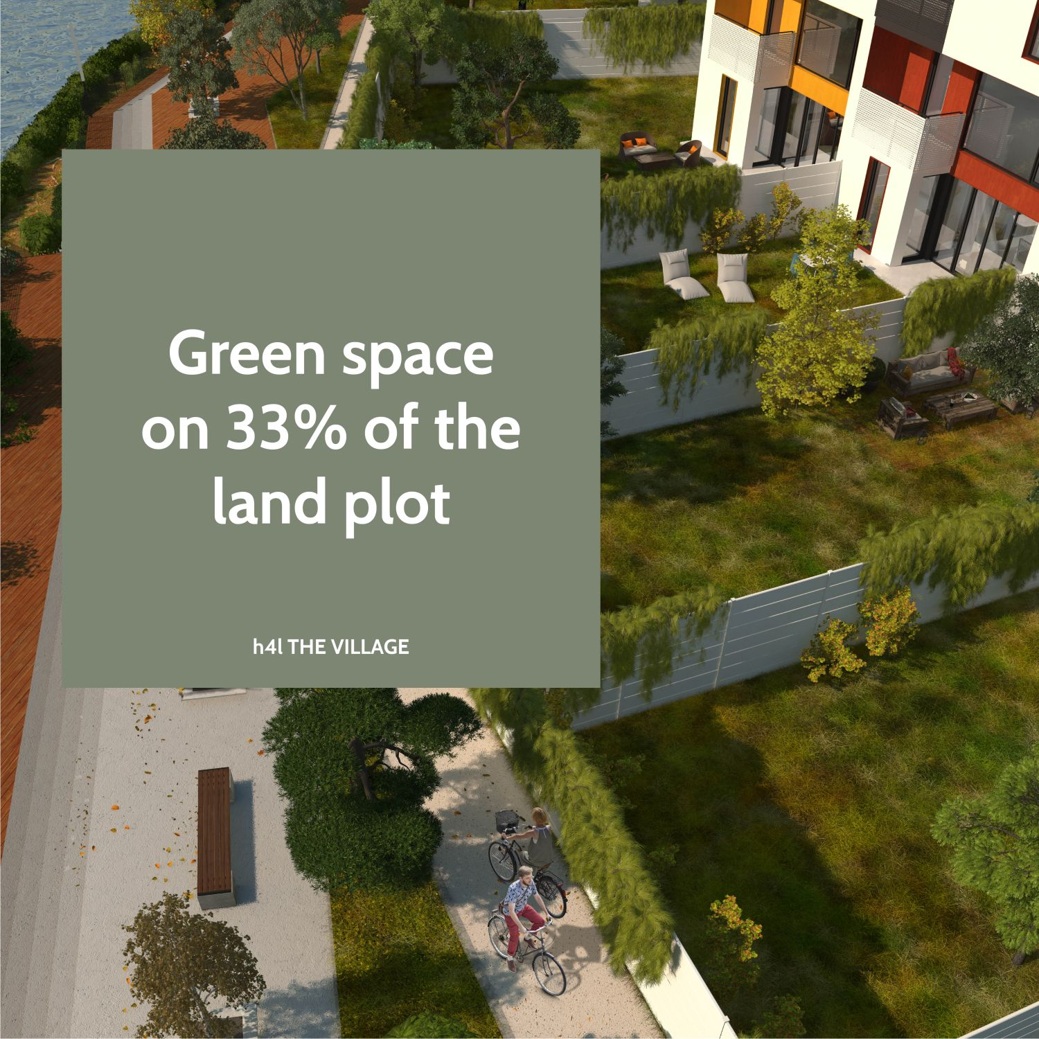Green space on 33% of the land plot